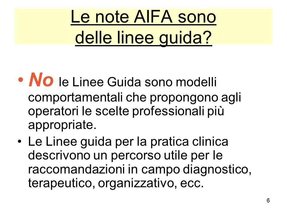 6 Le note AIFA sono delle linee guida? No le Linee Guida sono modelli comportamentali che propongono agli operatori le scelte professionali più approp