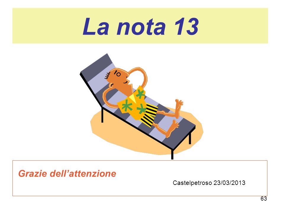 63 La nota 13 Grazie dellattenzione Castelpetroso 23/03/2013