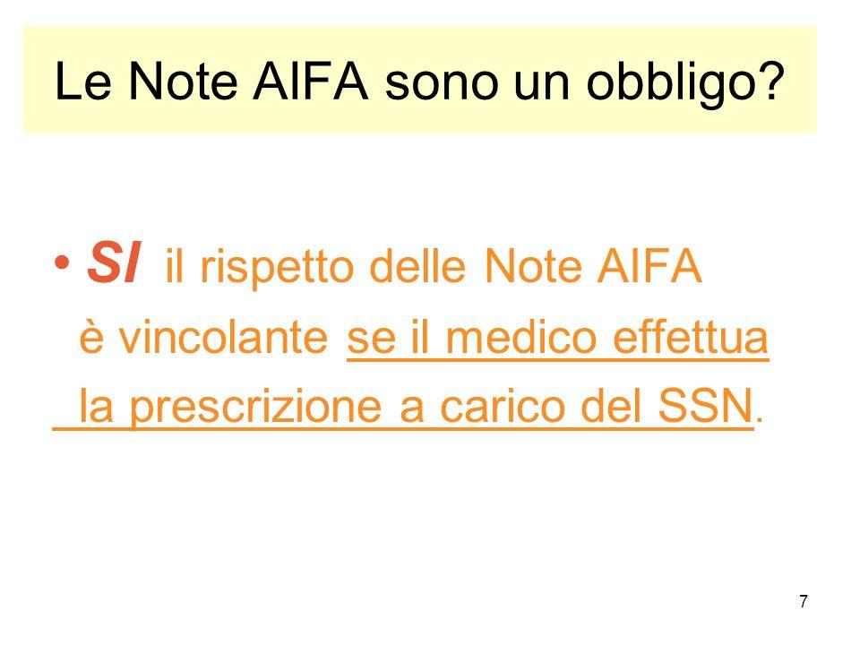7 Le Note AIFA sono un obbligo? SI il rispetto delle Note AIFA è vincolante se il medico effettua la prescrizione a carico del SSN.