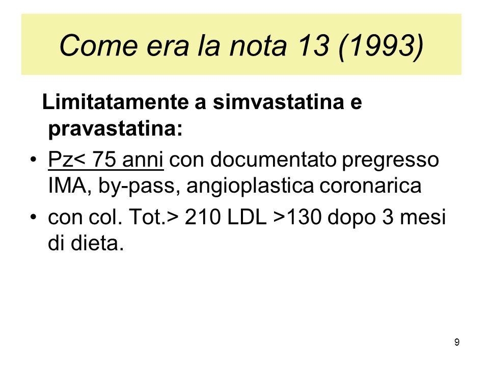9 Come era la nota 13 (1993) Limitatamente a simvastatina e pravastatina: Pz< 75 anni con documentato pregresso IMA, by-pass, angioplastica coronarica