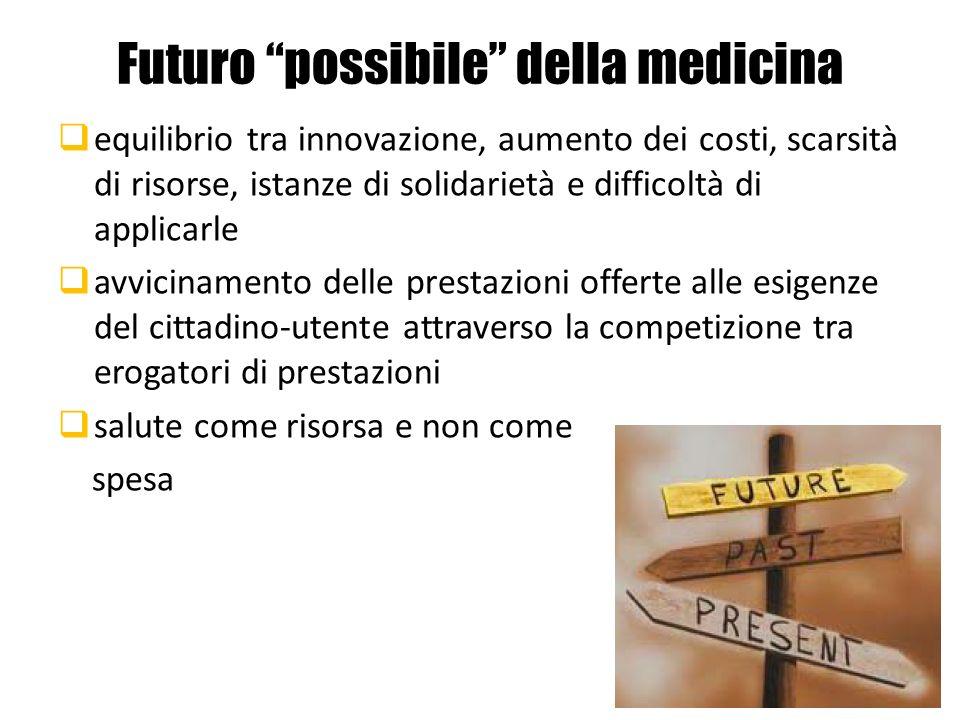 Futuro possibile della medicina equilibrio tra innovazione, aumento dei costi, scarsità di risorse, istanze di solidarietà e difficoltà di applicarle
