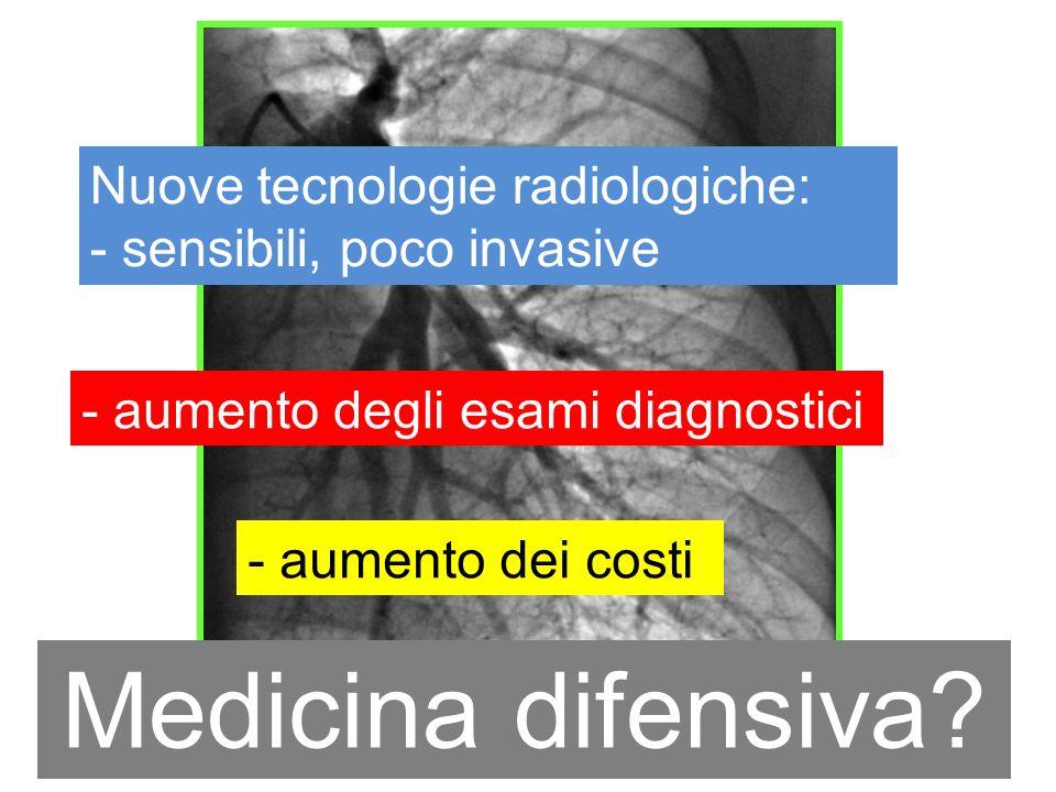Nuove tecnologie radiologiche: - sensibili, poco invasive - aumento degli esami diagnostici - aumento dei costi - eccesso diagnostico? Medicina difens