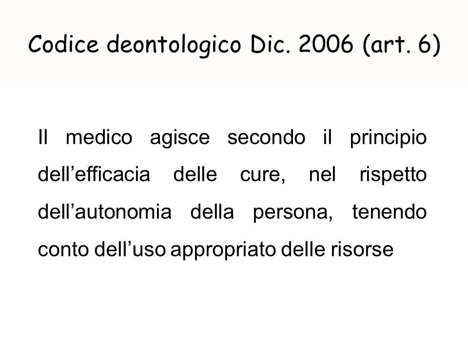 Codice deontologico Dic. 2006 (art. 6) Il medico agisce secondo il principio dellefficacia delle cure, nel rispetto dellautonomia della persona, tenen