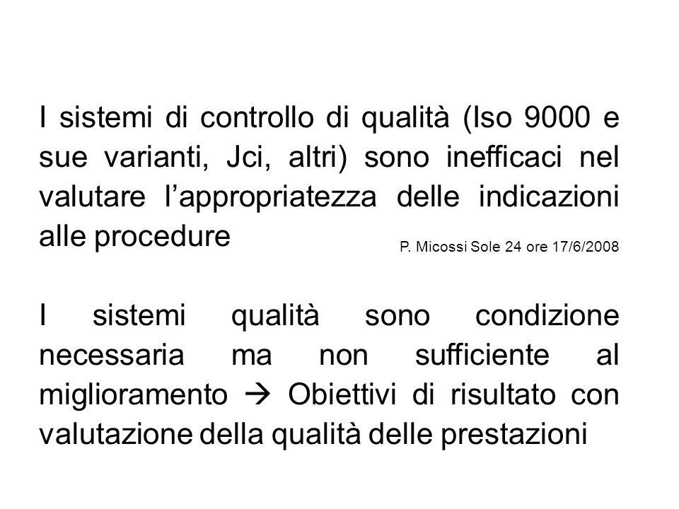 I sistemi di controllo di qualità (Iso 9000 e sue varianti, Jci, altri) sono inefficaci nel valutare lappropriatezza delle indicazioni alle procedure