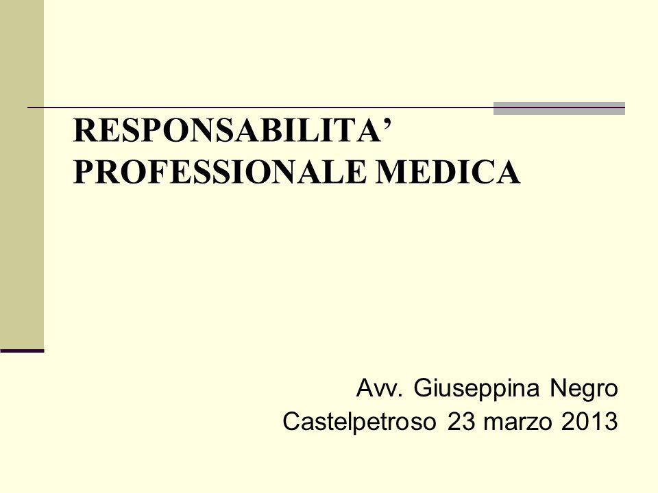 RESPONSABILITA PROFESSIONALE MEDICA Avv. Giuseppina Negro Castelpetroso 23 marzo 2013