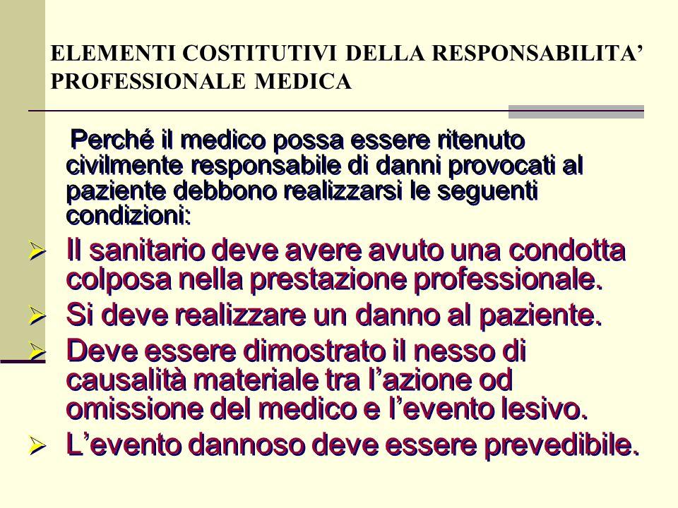 Perché il medico possa essere ritenuto civilmente responsabile di danni provocati al paziente debbono realizzarsi le seguenti condizioni: Il sanitario