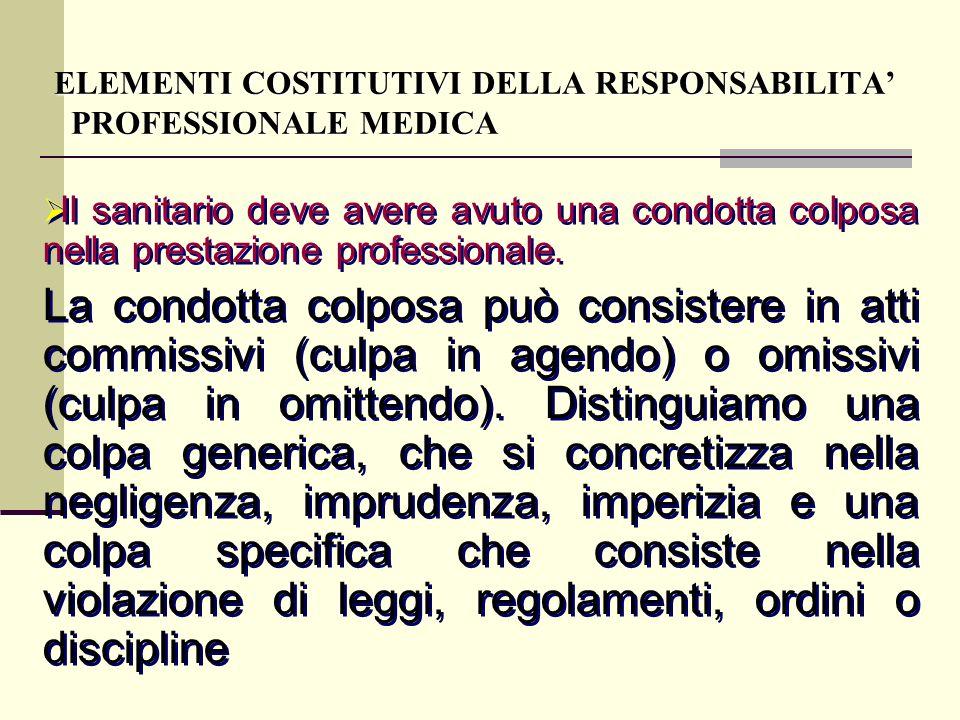 Il sanitario deve avere avuto una condotta colposa nella prestazione professionale. La condotta colposa può consistere in atti commissivi (culpa in ag