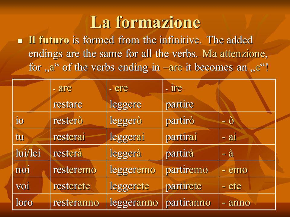 La formazione Il futuro is formed from the infinitive. The added endings are the same for all the verbs. Ma attenzione, for a of the verbs ending in –