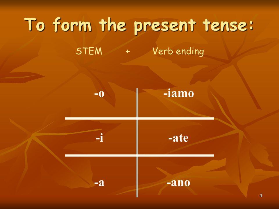 3 Every verb has 2 parts: Parlare= parl- Preparare= prepar- Studiare= studi- Aiutare = aiut- Tagliare= tagl- STEM+ENDING Guardare= guard- Ascoltare= a
