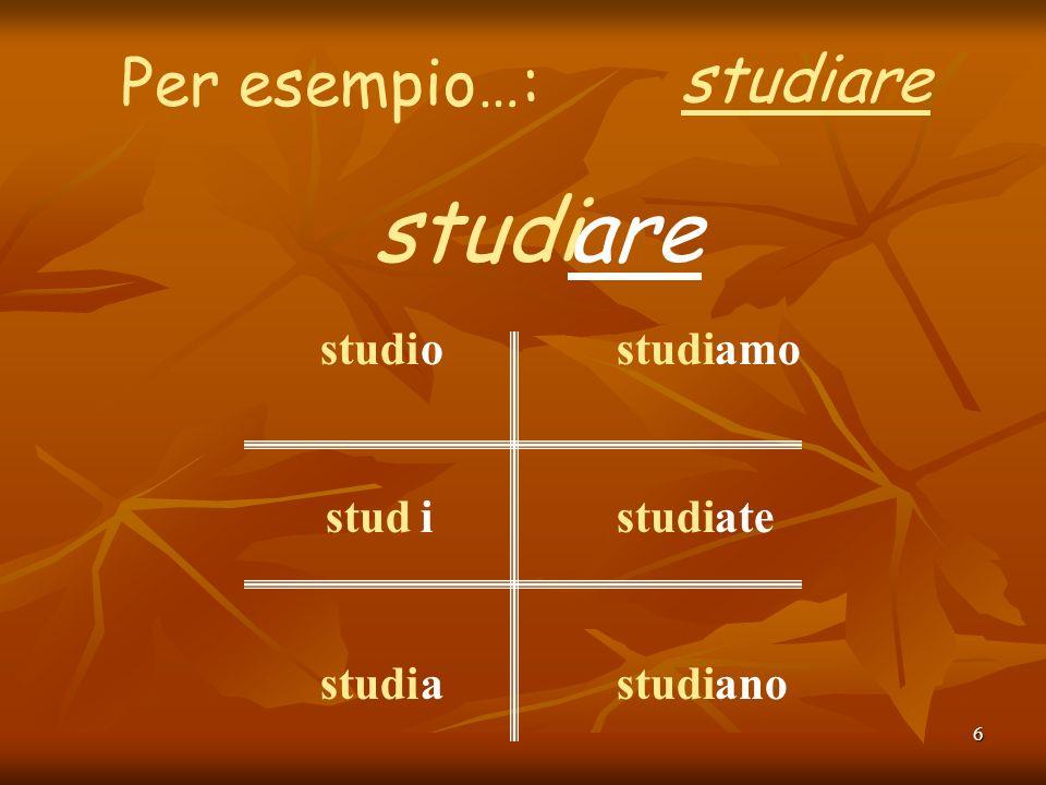 6 Per esempio…: studiare studiare studi stud studi oiaoia amo ate ano