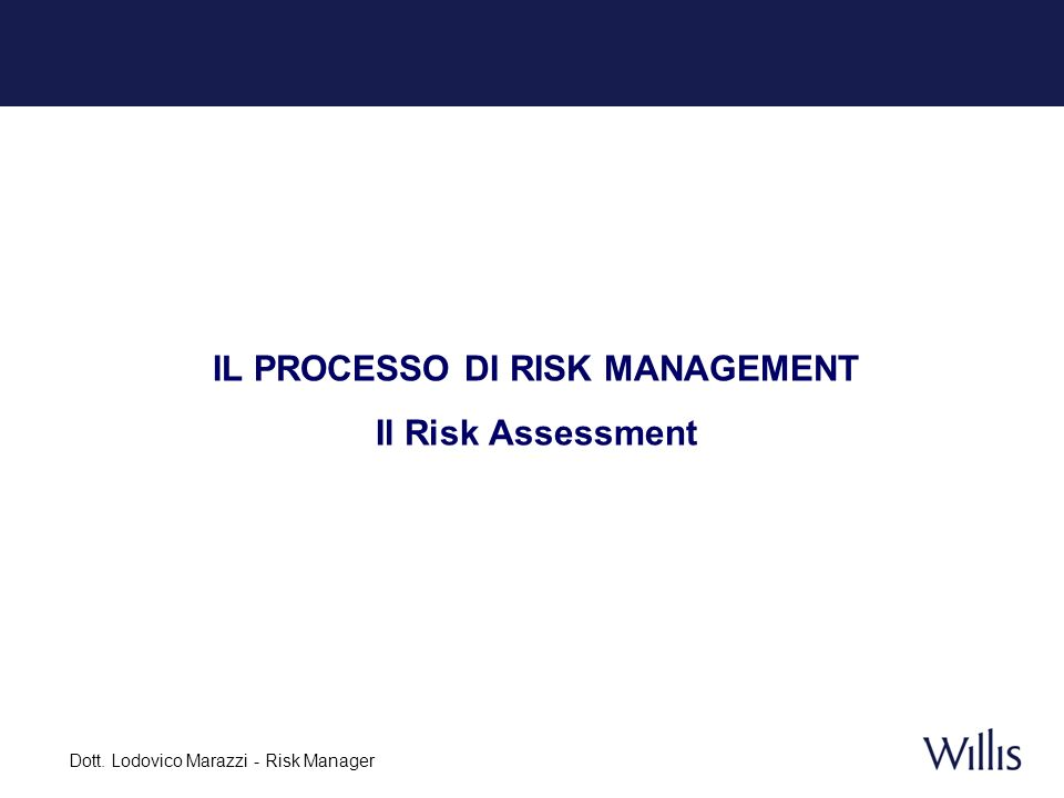 Dott. Lodovico Marazzi - Risk Manager IL PROCESSO DI RISK MANAGEMENT Il Risk Assessment