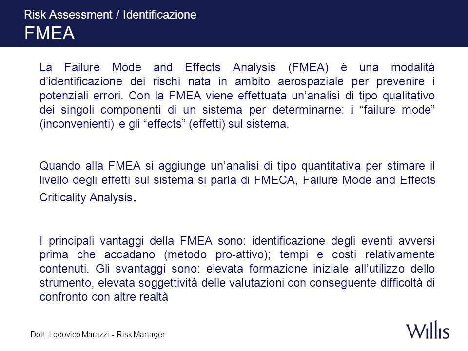 Dott. Lodovico Marazzi - Risk Manager Risk Assessment / Identificazione FMEA La Failure Mode and Effects Analysis (FMEA) è una modalità didentificazio