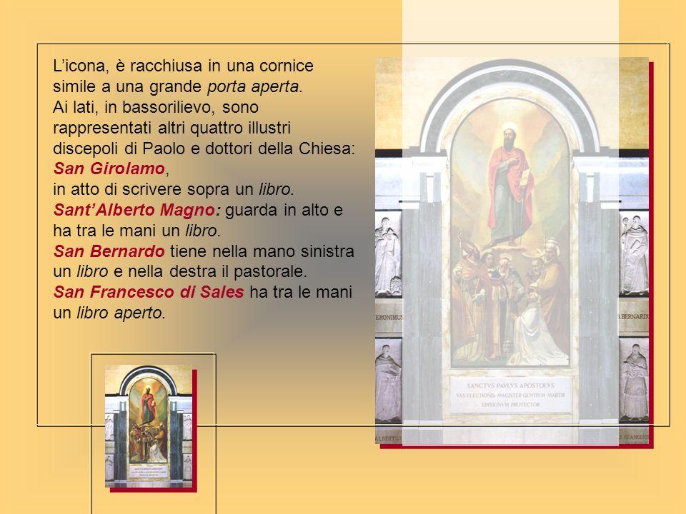 Licona, è racchiusa in una cornice simile a una grande porta aperta. Ai lati, in bassorilievo, sono rappresentati altri quattro illustri discepoli di