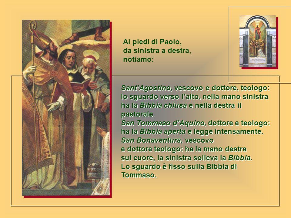 SantAgostino, vescovo e dottore, teologo: lo sguardo verso lalto, nella mano sinistra ha la Bibbia chiusa e nella destra il pastorale. San Tommaso dAq
