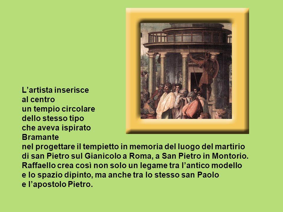 Lartista inserisce al centro un tempio circolare dello stesso tipo che aveva ispirato Bramante nel progettare il tempietto in memoria del luogo del ma