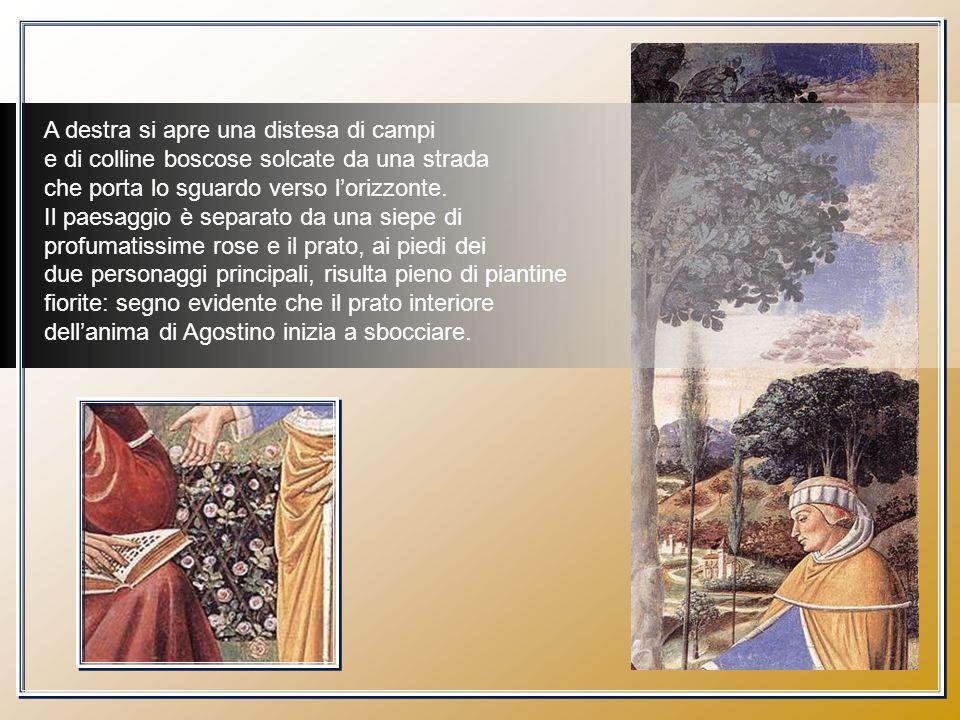 Nel dipinto lalbero indica una separazione di tempo e di spazio, che è il tempo e lo spazio dellanima dello stesso Agostino, che pian piano viene conquistata dalle parole di Paolo.