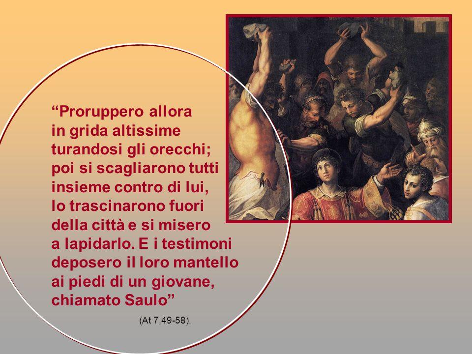 Il giovane vestito con abiti romani, seduto a destra, è Paolo o meglio il giovane Saulo, ai piedi del quale furono deposti i mantelli dei testimoni del martirio di santo Stefano.