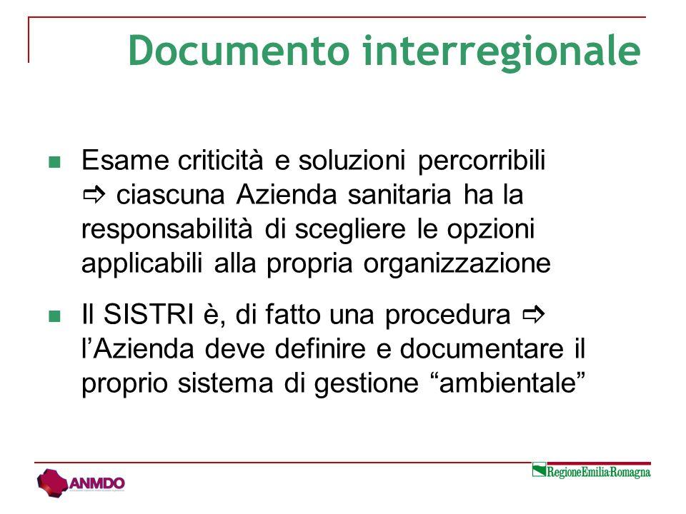 Esame criticità e soluzioni percorribili ciascuna Azienda sanitaria ha la responsabilità di scegliere le opzioni applicabili alla propria organizzazione Il SISTRI è, di fatto una procedura lAzienda deve definire e documentare il proprio sistema di gestione ambientale Documento interregionale