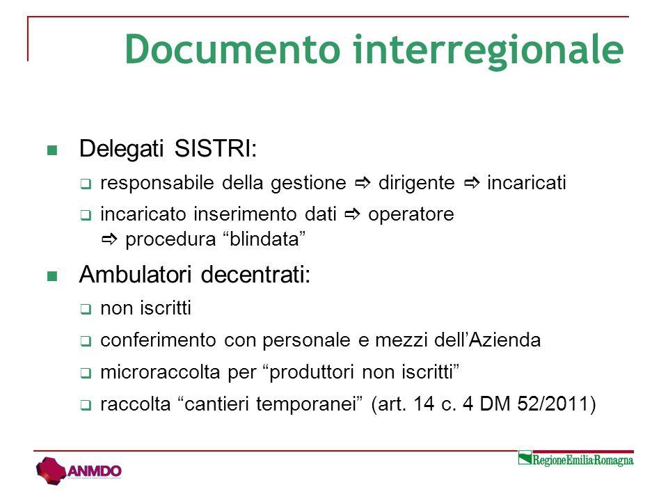 Delegati SISTRI: responsabile della gestione dirigente incaricati incaricato inserimento dati operatore procedura blindata Ambulatori decentrati: non