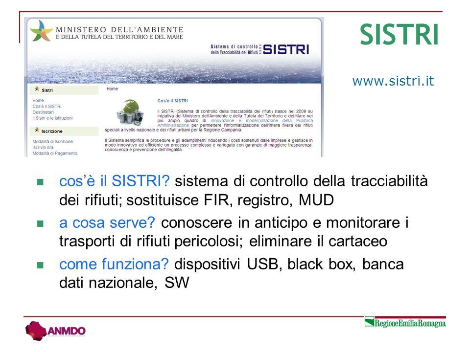 cosè il SISTRI? sistema di controllo della tracciabilità dei rifiuti; sostituisce FIR, registro, MUD a cosa serve? conoscere in anticipo e monitorare
