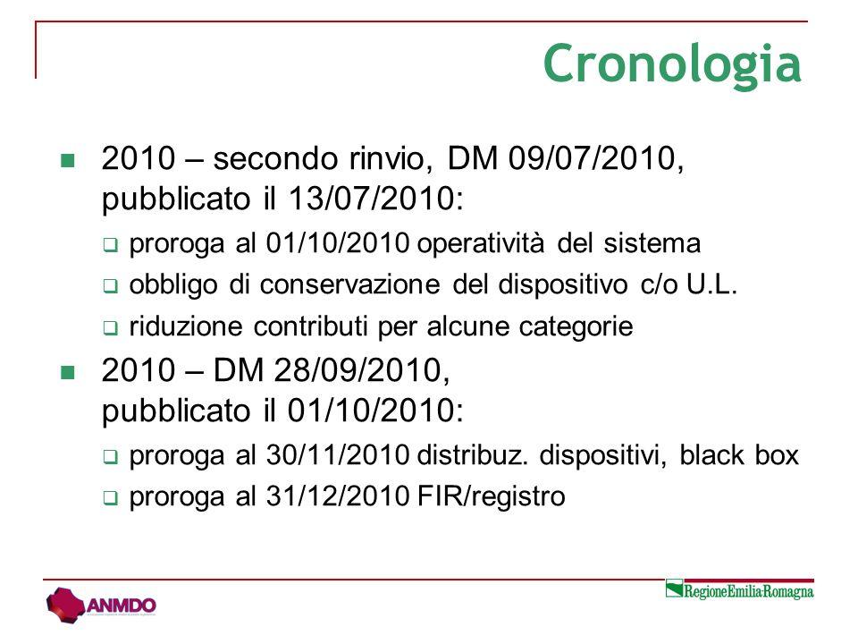 2010 – secondo rinvio, DM 09/07/2010, pubblicato il 13/07/2010: proroga al 01/10/2010 operatività del sistema obbligo di conservazione del dispositivo