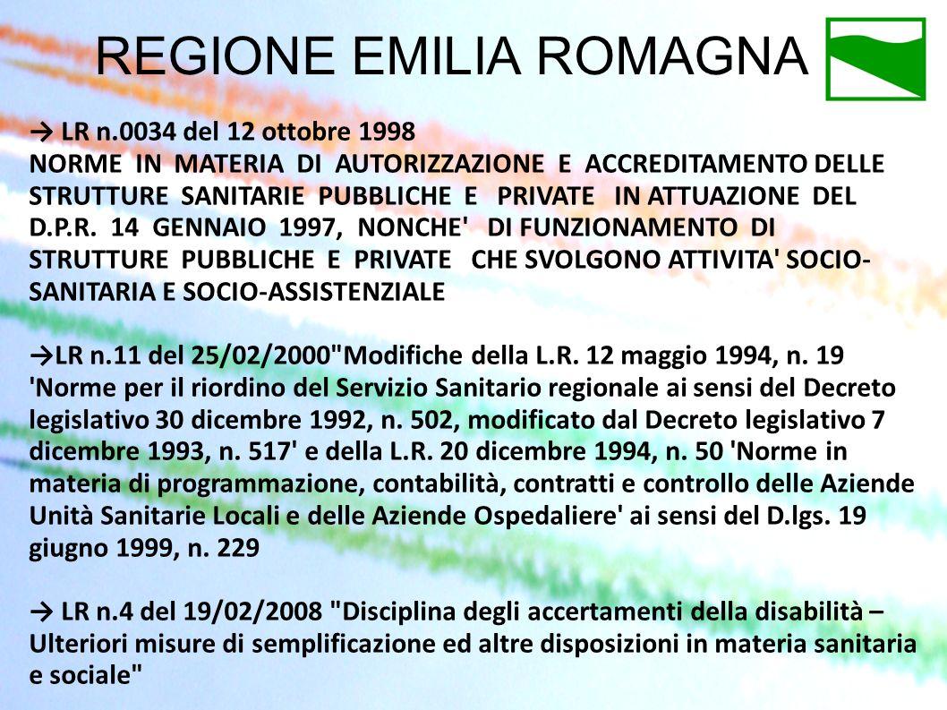 REGIONE EMILIA ROMAGNA LR n.0034 del 12 ottobre 1998 NORME IN MATERIA DI AUTORIZZAZIONE E ACCREDITAMENTO DELLE STRUTTURE SANITARIE PUBBLICHE E PRIVATE
