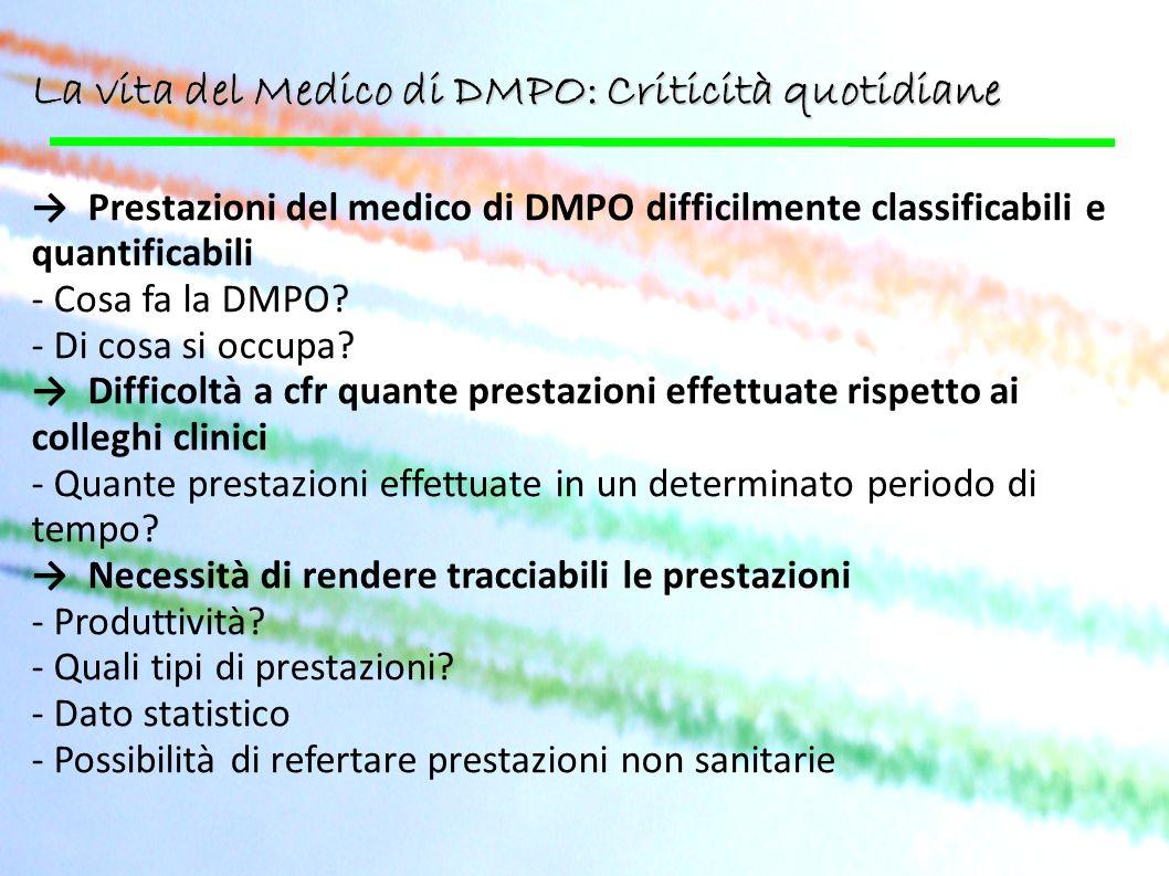 La vita del Medico di DMPO: Criticità quotidiane Prestazioni del medico di DMPO difficilmente classificabili e quantificabili - Cosa fa la DMPO? - Di