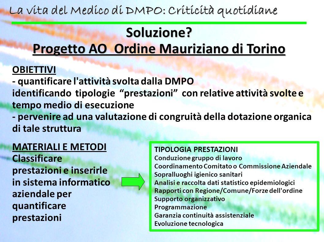 Soluzione? Progetto AO Ordine Mauriziano di Torino OBIETTIVI - quantificare l'attività svolta dalla DMPO identificando tipologie prestazioni con relat