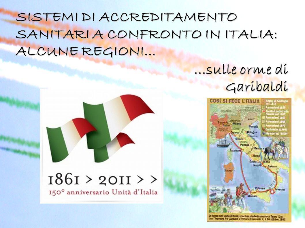 SISTEMI DI ACCREDITAMENTO SANITARI A CONFRONTO IN ITALIA: ALCUNE REGIONI......sulle orme di Garibaldi