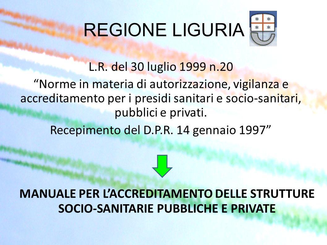 REGIONE LIGURIA L.R. del 30 luglio 1999 n.20 Norme in materia di autorizzazione, vigilanza e accreditamento per i presidi sanitari e socio-sanitari, p