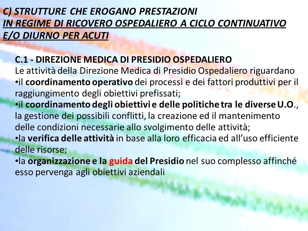C) STRUTTURE CHE EROGANO PRESTAZIONI IN REGIME DI RICOVERO OSPEDALIERO A CICLO CONTINUATIVO E/O DIURNO PER ACUTI C.1 - DIREZIONE MEDICA DI PRESIDIO OS