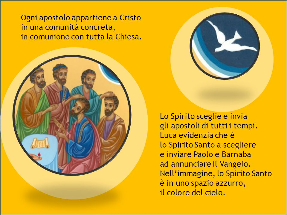 Ad Antiochia ci sono maestri e profeti. Tra questi, Manaem, Lucio e Simeone, che impongono le mani sugli apostoli. Paolo e Barnaba sono inviati. I lor