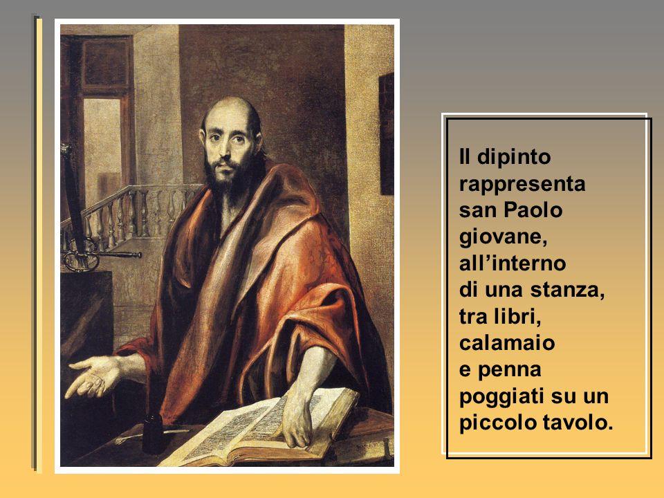 Il dipinto rappresenta san Paolo giovane, allinterno di una stanza, tra libri, calamaio e penna poggiati su un piccolo tavolo.