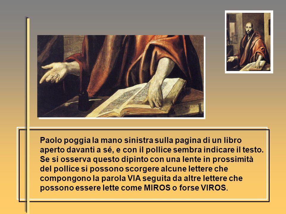 Paolo poggia la mano sinistra sulla pagina di un libro aperto davanti a sé, e con il pollice sembra indicare il testo. Se si osserva questo dipinto co