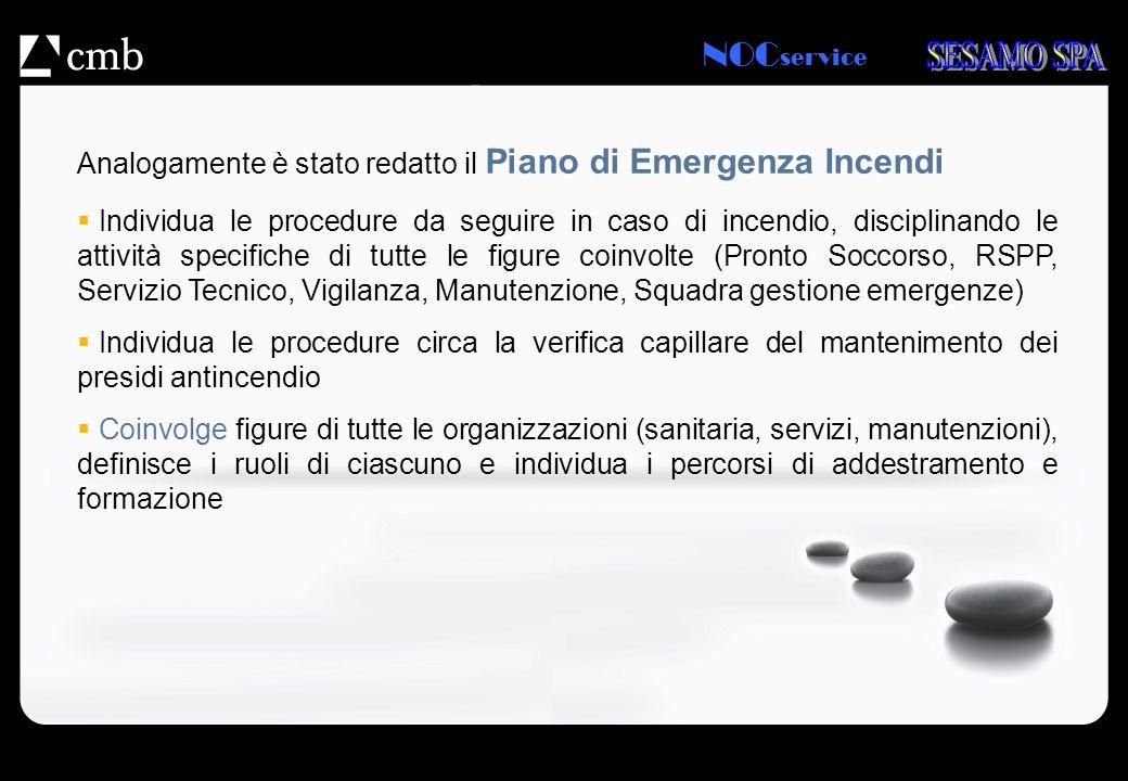 NOC service Analogamente è stato redatto il Piano di Emergenza Incendi Individua le procedure da seguire in caso di incendio, disciplinando le attivit