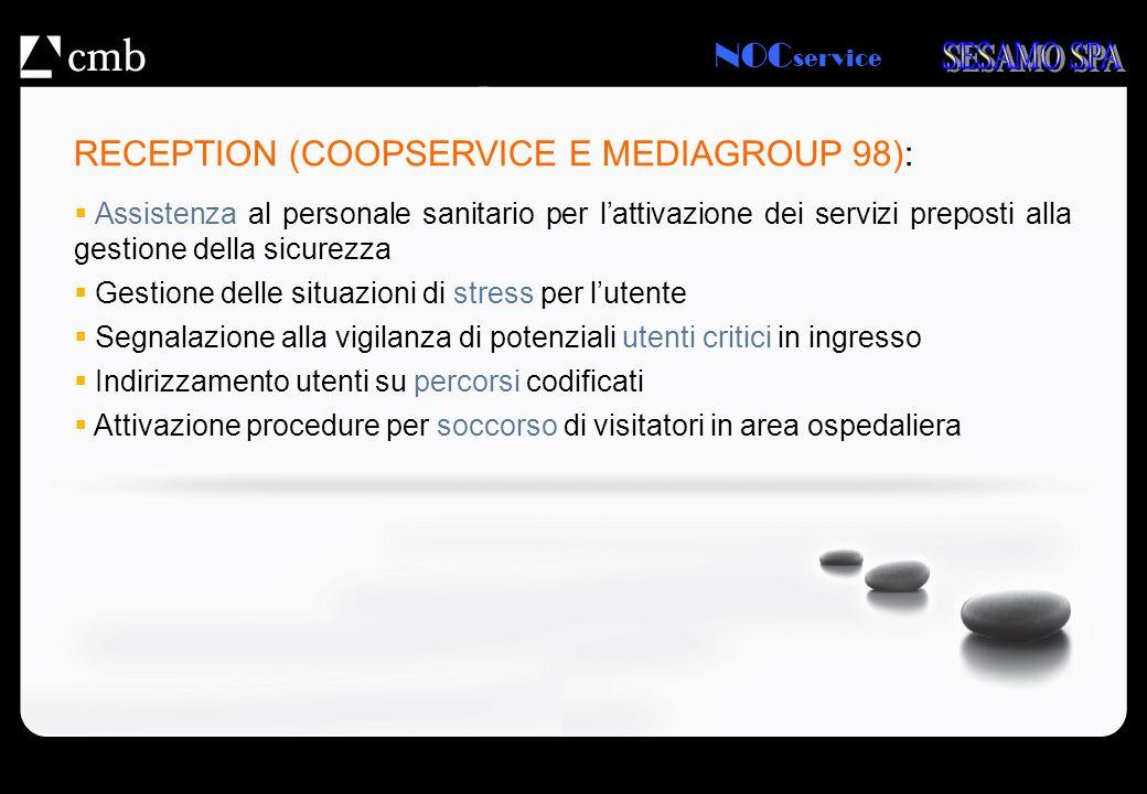 NOC service RECEPTION (COOPSERVICE E MEDIAGROUP 98): Assistenza al personale sanitario per lattivazione dei servizi preposti alla gestione della sicur