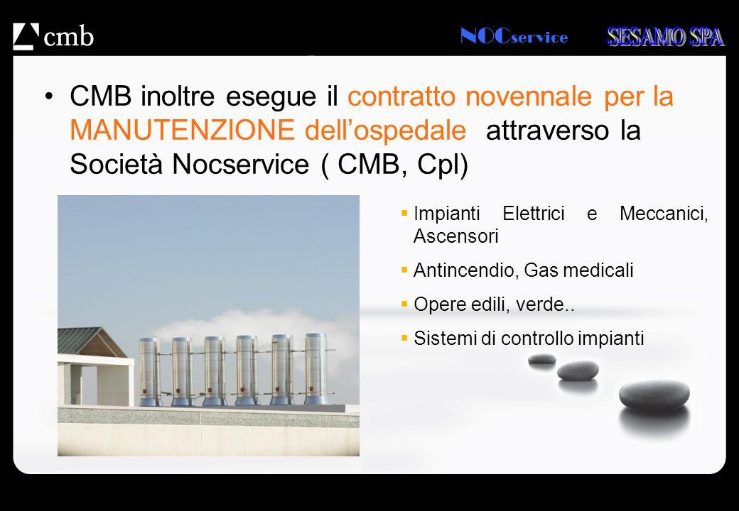 NOC service CMB inoltre esegue il contratto novennale per la MANUTENZIONE dellospedale attraverso la Società Nocservice ( CMB, Cpl) Impianti Elettrici