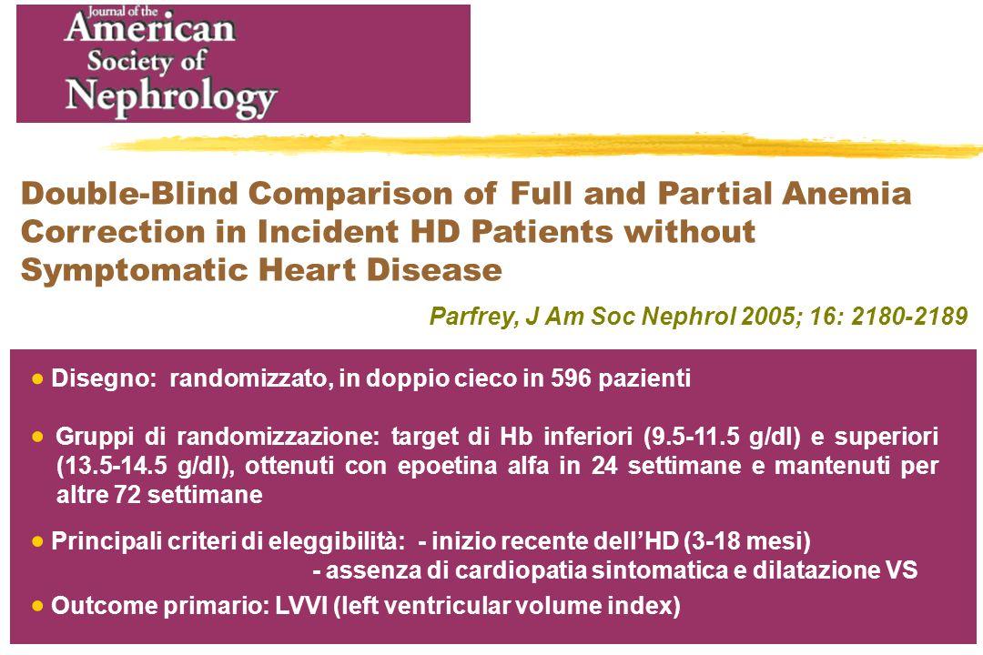 Principali criteri di eleggibilità: - inizio recente dellHD (3-18 mesi) - assenza di cardiopatia sintomatica e dilatazione VS Parfrey, J Am Soc Nephro