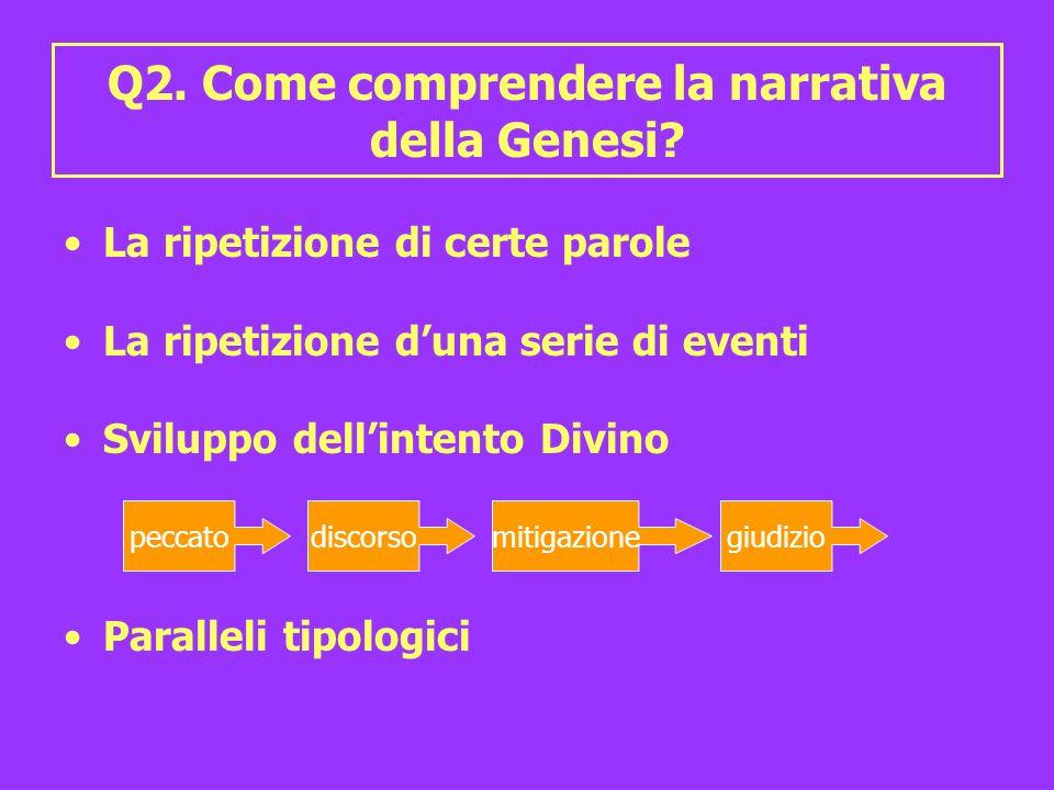 Q2. Come comprendere la narrativa della Genesi? La ripetizione di certe parole La ripetizione duna serie di eventi Sviluppo dellintento Divino Paralle