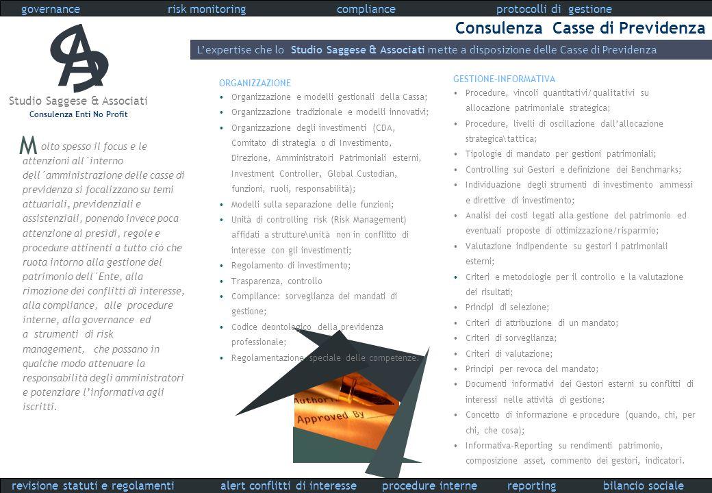 Studio Saggese & Associati Consulenza Enti No Profit governance compliance procedure interne protocolli di gestionerisk monitoring reportingalert conf