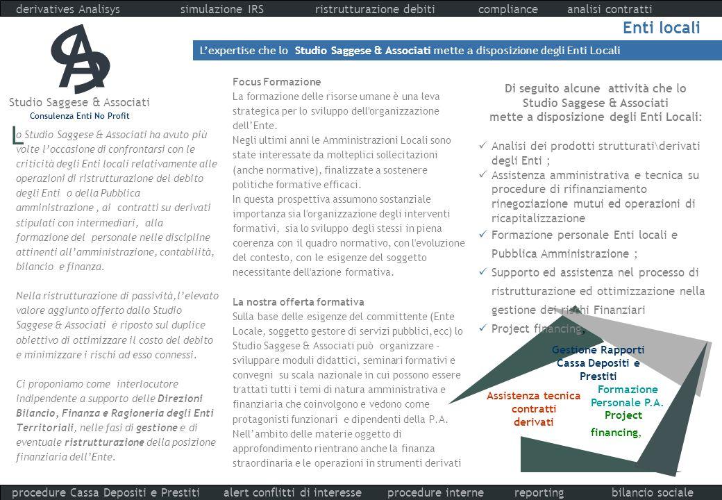Studio Saggese & Associati Consulenza Enti No Profit derivatives Analisys compliance procedure interne analisi contrattiristrutturazione debiti report
