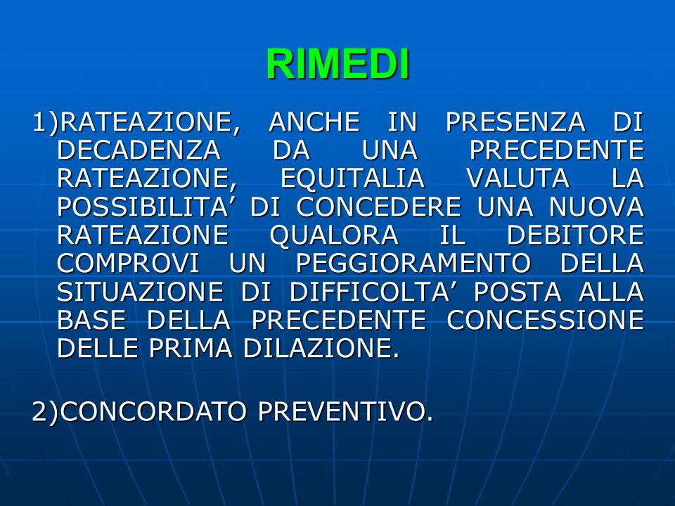 RIMEDI 1)RATEAZIONE, ANCHE IN PRESENZA DI DECADENZA DA UNA PRECEDENTE RATEAZIONE, EQUITALIA VALUTA LA POSSIBILITA DI CONCEDERE UNA NUOVA RATEAZIONE QU