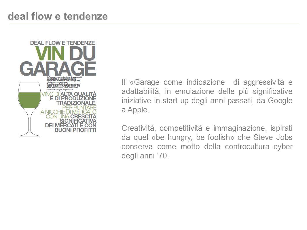 deal flow e tendenze Il «Garage come indicazione di aggressività e adattabilità, in emulazione delle più significative iniziative in start up degli anni passati, da Google a Apple.