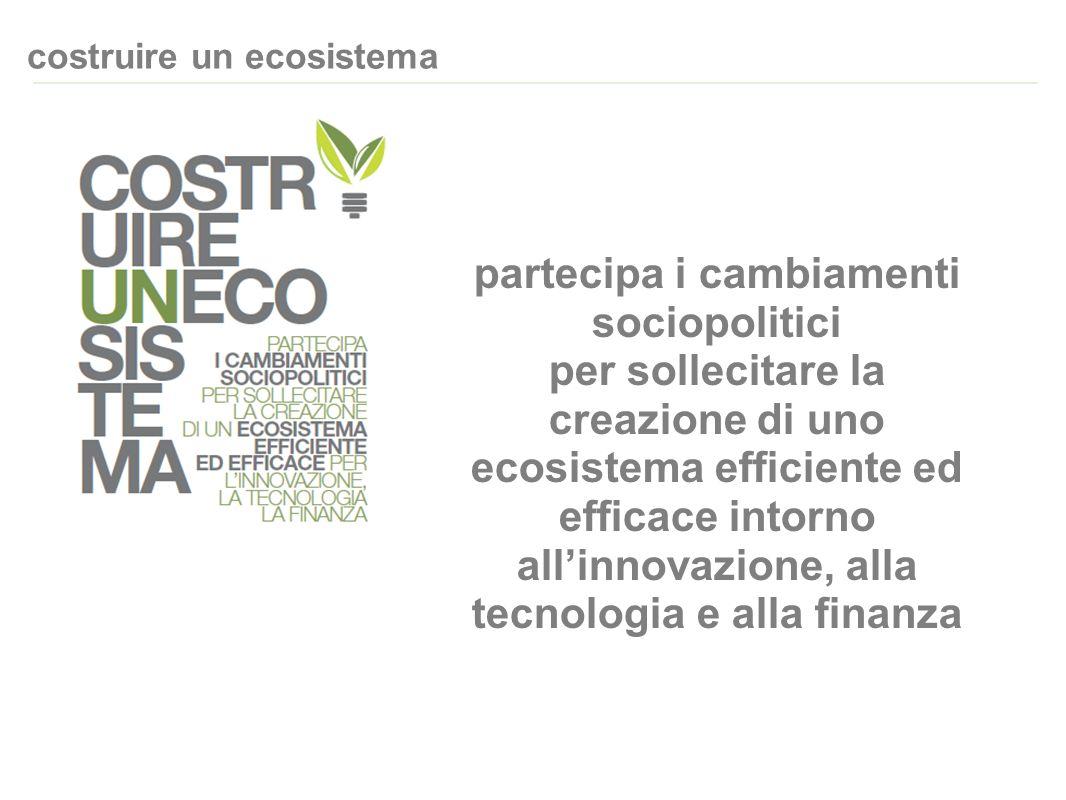 costruire un ecosistema partecipa i cambiamenti sociopolitici per sollecitare la creazione di uno ecosistema efficiente ed efficace intorno allinnovazione, alla tecnologia e alla finanza