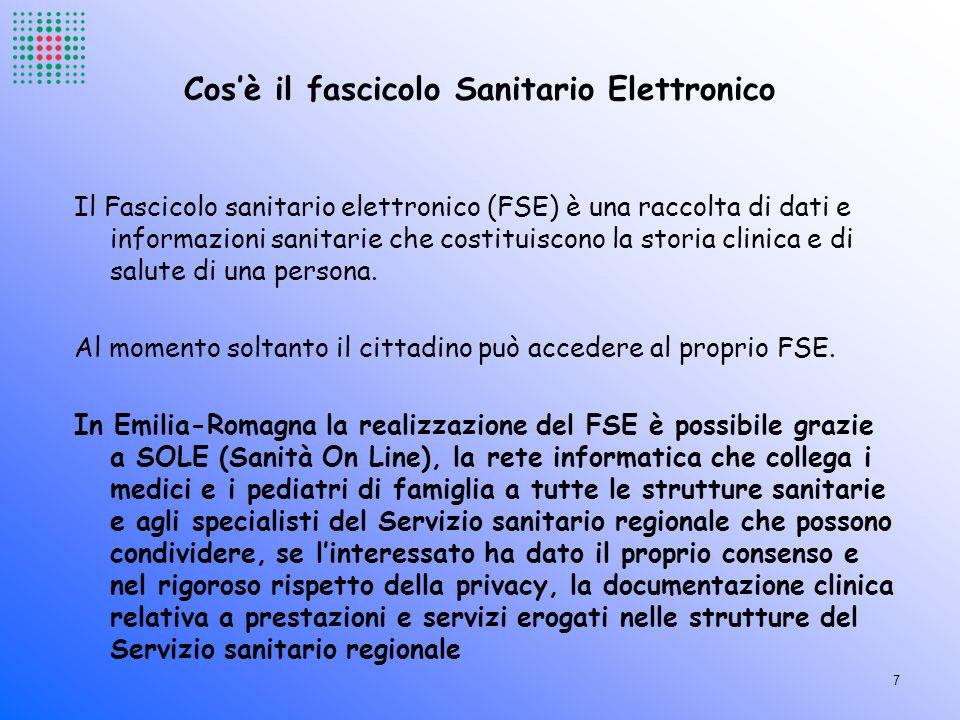 Cosè il fascicolo Sanitario Elettronico Il Fascicolo sanitario elettronico (FSE) è una raccolta di dati e informazioni sanitarie che costituiscono la
