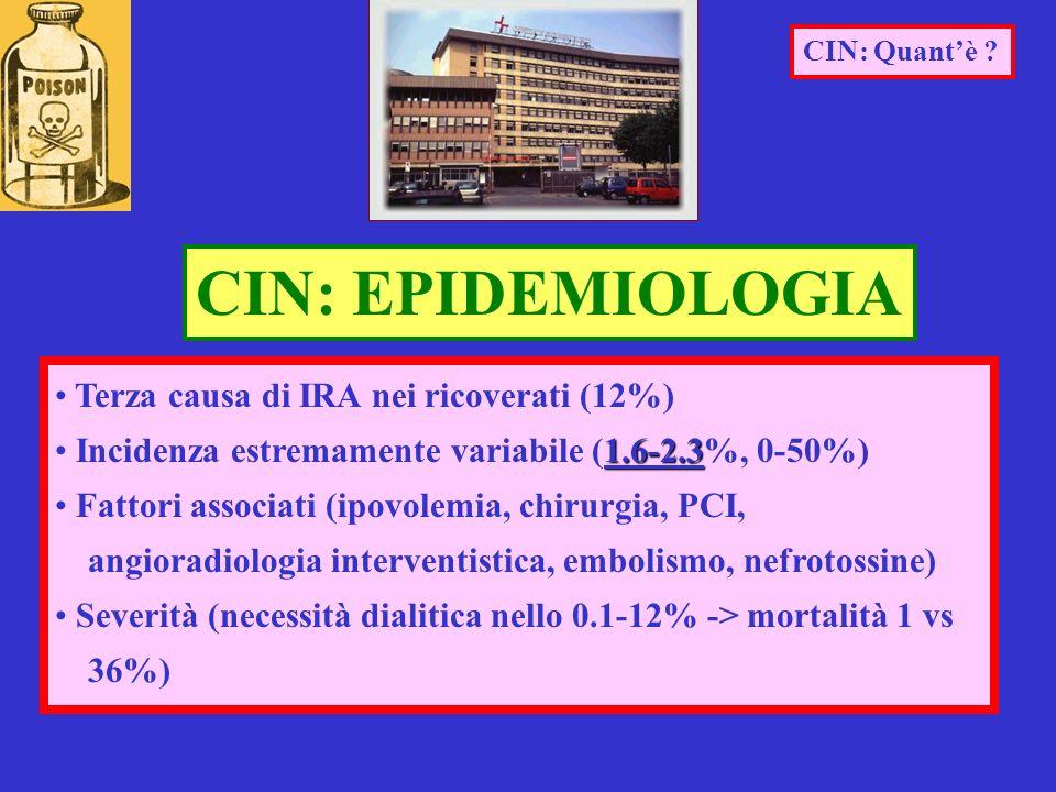 Terza causa di IRA nei ricoverati (12%) 1.6-2.3 Incidenza estremamente variabile (1.6-2.3%, 0-50%) Fattori associati (ipovolemia, chirurgia, PCI, angi