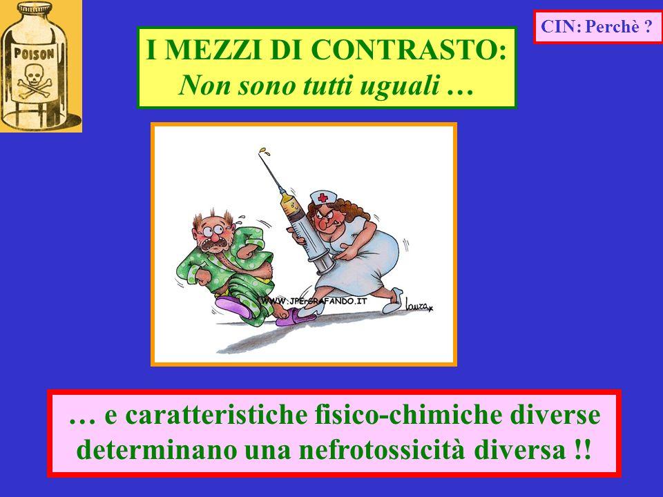 … e caratteristiche fisico-chimiche diverse determinano una nefrotossicità diversa !! CIN: Perchè ? I MEZZI DI CONTRASTO: Non sono tutti uguali …