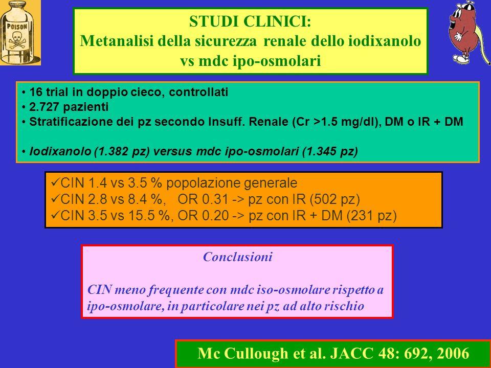 STUDI CLINICI: Metanalisi della sicurezza renale dello iodixanolo vs mdc ipo-osmolari Mc Cullough et al. JACC 48: 692, 2006 Conclusioni CIN meno frequ