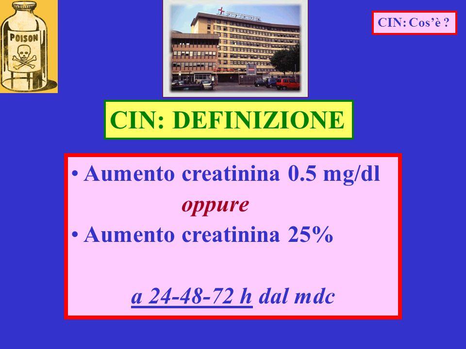 Aumento creatinina 0.5 mg/dl oppure Aumento creatinina 25% a 24-48-72 h dal mdc CIN: DEFINIZIONE CIN: Cosè ?