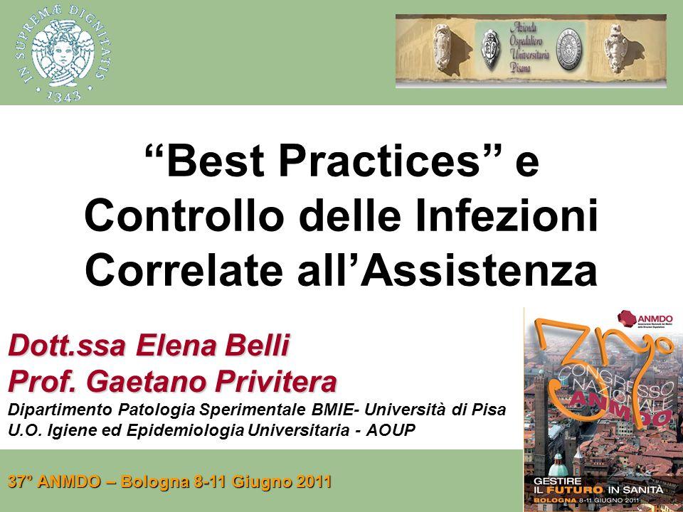 Best Practices e Controllo delle Infezioni Correlate allAssistenza Dott.ssa Elena Belli Prof. Gaetano Privitera Dipartimento Patologia Sperimentale BM